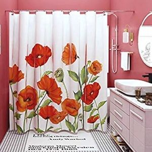 Other - Cheery Red and Orange Poppy Fabric shower curtain